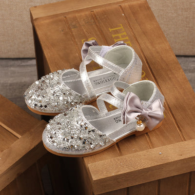 Autumn New Children Leather Shoes Casual Girls Princess Flat Heel Party Shoes Fashion Sequins Bow Pearl Kids Shoes For Girls - Baby clothing, toys, shoes, mum & dad products