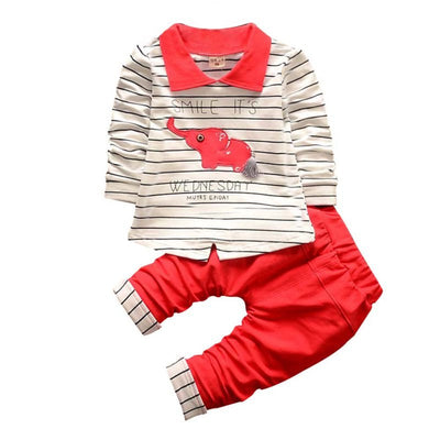 Baby Clothes Set Children Lapel Elephant Stripes Sets Kids Clothes Baby Boys T-shirts+Trousers 2PCS Tracksuit - Baby clothing, toys, shoes, mum & dad products