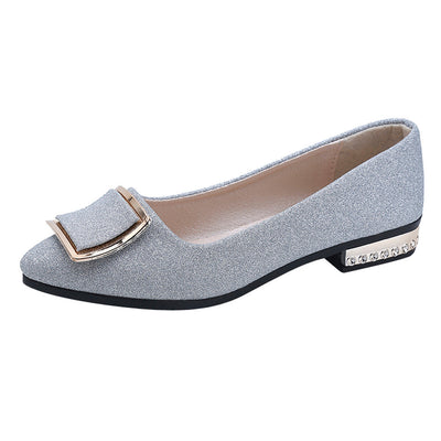 Women Sequins Shallow Square Buckle Slip On Low Heel Shoes Pointed Single Shoes