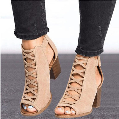 HEE GRAND Women Thick Heel Pumps 2018 New Sexy Style Women Peep Toe Pumps Flock Leather Autumn Shoes with Zipper Pumps WXG564 - Baby clothing, toys, shoes, mum & dad products