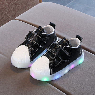 PU Baby Shoes Shine LED Baby Girl Shoes Fashion First Walker PU Sports Casual Baby Boy Shoes Autumn Children - Baby clothing, toys, shoes, mum & dad products
