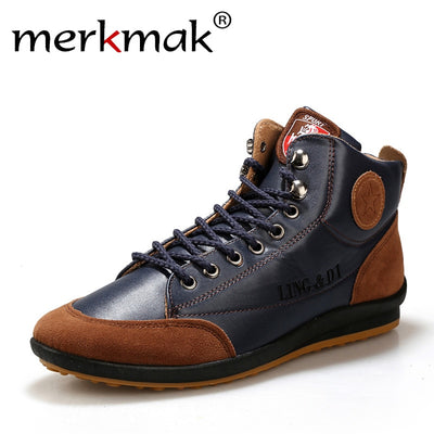 New 2018 Men Leather Boots Fashion Autumn Winter Warm Cotton Brand Ankle Boots Lace Up Men Shoes Footwear Casual Drop Shipping - Baby clothing, toys, shoes, mum & dad products