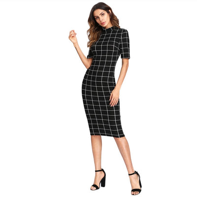Sheinside Plaid Pencil Dress Stand Collar Short Sleeve Midi Dress 2018 Autumn Winter Women OL Work Elegant Bodycon Dress - Baby clothing, toys, shoes, mum & dad products