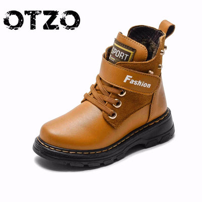 2018 New Autumn Winter Warm Genuine Leather Boots High Quality Children Snow Boots For Boys Comfortable Kids Hot Casual Shoes - Baby clothing, toys, shoes, mum & dad products