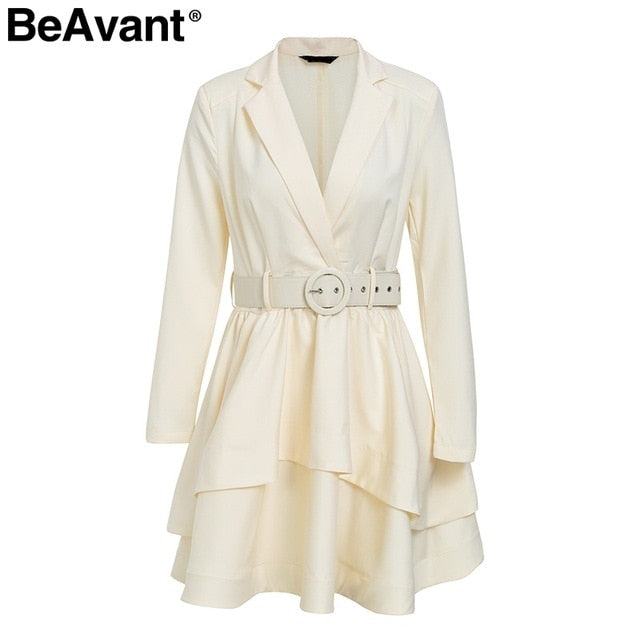 BeAvant Layered ruffle winter dress elegant 2018 OL tiered autumn women dress party High waist sash loose short dress female - Baby clothing, toys, shoes, mum & dad products