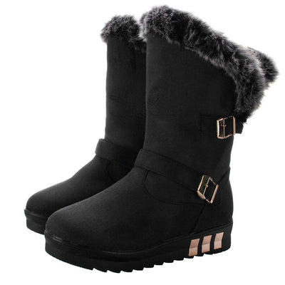NIS Platform Winter Boots Women Shoes Casual Slip On Shoes Woman Faux Suede Leather Fur-lined Mid-calf Boots Bottines Femme New - Baby clothing, toys, shoes, mum & dad products