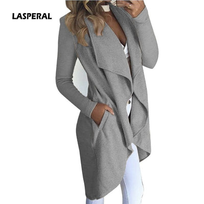 LASPERAL New Fashion Women Casual Pocket Irregular Cardigan Coat Loose Casual Basic Jacket Elegant Long Outwear 2018 Slim Jacket - Baby clothing, toys, shoes, mum & dad products