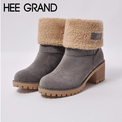 HEE GRAND 2018 Women Winter Warm Suede Warm Casual Snow Boots Student Thick Heel Short Boots Footwear Shoes Mujer Booten XWX7017 - Baby clothing, toys, shoes, mum & dad products