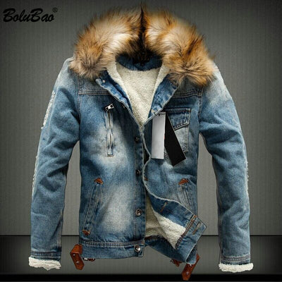 BOLUBAO New Brand Men's Denim Jacket 2018 Winter Warm Thick Denim Jackets Men's Fashion Denim Coat Outerwear Mens - Baby clothing, toys, shoes, mum & dad products