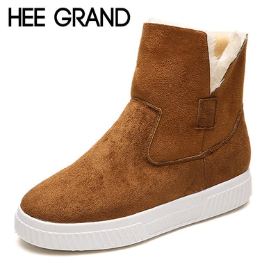 HEE GRAND Solid Faux Suede Warm Women Snow Boots Creepers Platform Casual Shoes Woman Turned-Over Women Ankle Boots XWX6943 - Baby clothing, toys, shoes, mum & dad products