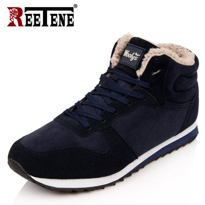 REETENE Cheapest Winter Boots Men Fashion Fur Flock Winter Shoes Men Leather Winter Ankle Boots Men Warm Casual Men Boots 37-48 - Baby clothing, toys, shoes, mum & dad products
