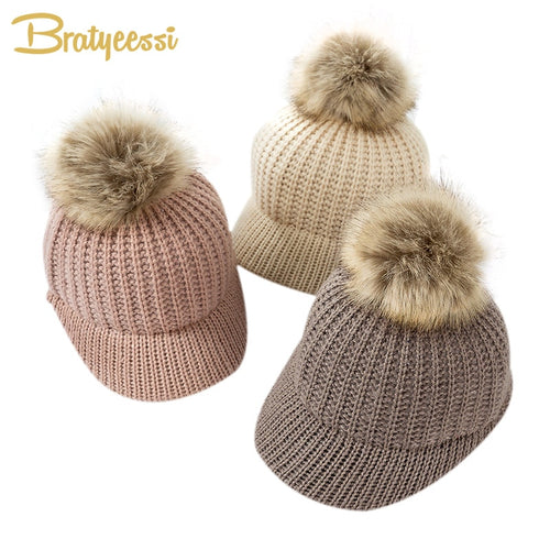 Fashion Knitted Baby Hat Pompom Winter Cap for Kids Adjustable Solid Baby Winter Hat Accessories Children Cap for 2-5 Years 1PC - Baby clothing, toys, shoes, mum & dad products
