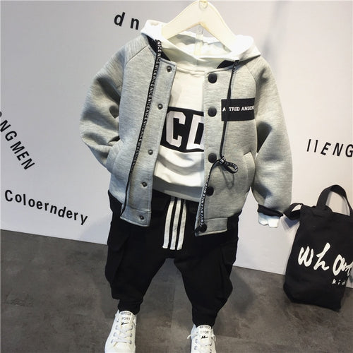 2018 Children's suit cotton baby Baseball jacket +hoodie+pants 3pcs clothing set Autumn winter baby boys suit kids clothing set - Baby clothing, toys, shoes, mum & dad products