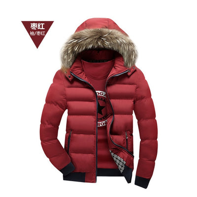 2017 Winter Mens Jacket with Faux Fur Collar Casual Patchwork Cotton Padded Hooded Parkas Coat men jackets brand clothing M-4XL - Baby clothing, toys, shoes, mum & dad products