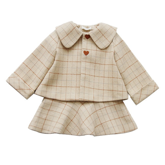 Mihkalev baby girl autumn winter clothes 2018 fashion kids clothing sets plaid jacket+dress 2pieces children princess set suits - Baby clothing, toys, shoes, mum & dad products