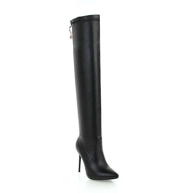 QUTAA 2019 Women Over The Knee High Boots Fashion Women Shoes Platform Winter Boots Zipper Thin Heel Women Boots Big Size 34-43 - Baby clothing, toys, shoes, mum & dad products