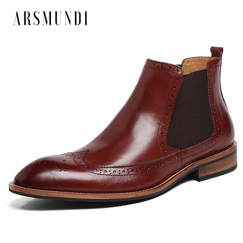 Men's Dress Chelsea Boots Ankle Wedding Oxfords Round Toe Genuine Leather Chakku Buckle Shoes 2018 New - Baby clothing, toys, shoes, mum & dad products