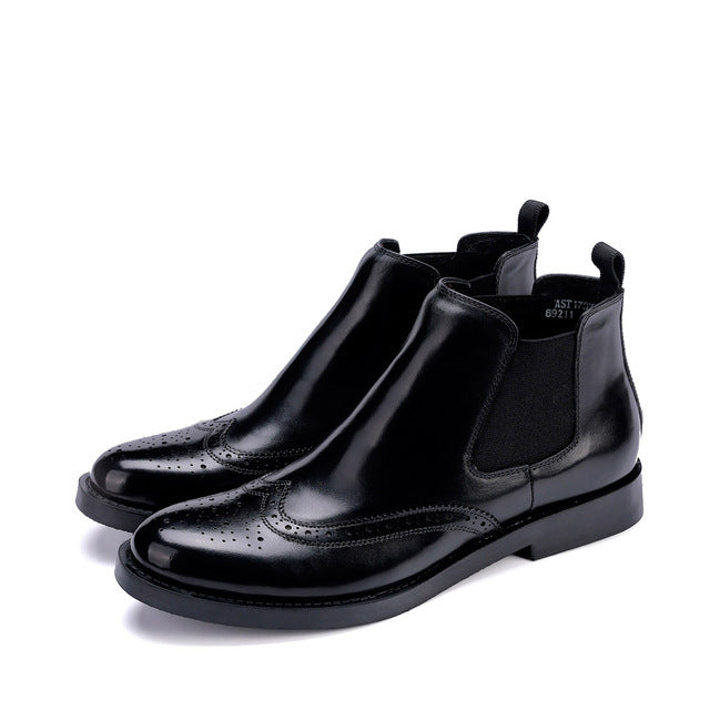 Men's Dress Chelsea Boots Ankle Wedding Oxfords Pointed Toe Genuine Leather Chakku Buckle Shoes 2018 New - Baby clothing, toys, shoes, mum & dad products