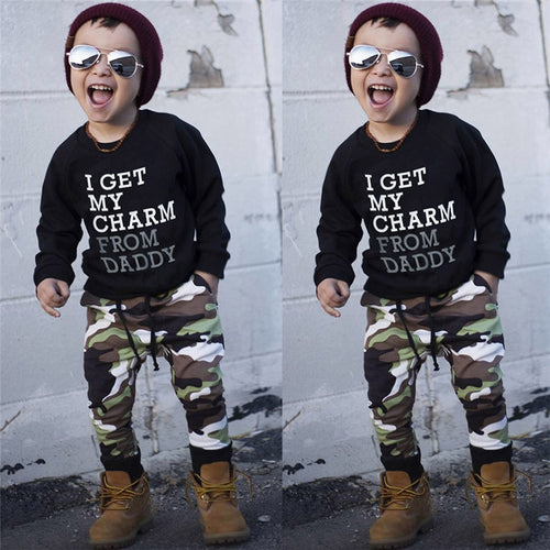 Autumn 2PCS Kids Clothes Boys Toddler Kids Baby Boys Long Sleeve Letter Print Tops+Camouflage Pants Set Clothes Kids Sets JY12#F - Baby clothing, toys, shoes, mum & dad products