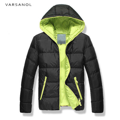 Varsanol Winter Mens Jackets Casual New Hooded Thick Padded Men's parkas Jacket Coats Warm Zipper Slim Tops Outwear 3xl - Baby clothing, toys, shoes, mum & dad products