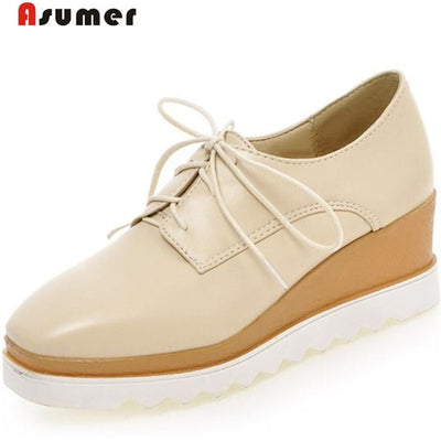 Asumer Big size 34-43 new fashion women's platform wedges pumps lace up square toe wedges heels  dress shoes woman - Baby clothing, toys, shoes, mum & dad products