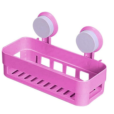 1pc Multipurpose  Kitchen Bathroom Shelf Wall Rack  Plastic Shower Caddy Organizer Holder Tray With Suction Cups Lotion Storage - Baby clothing, toys, shoes, mum & dad products