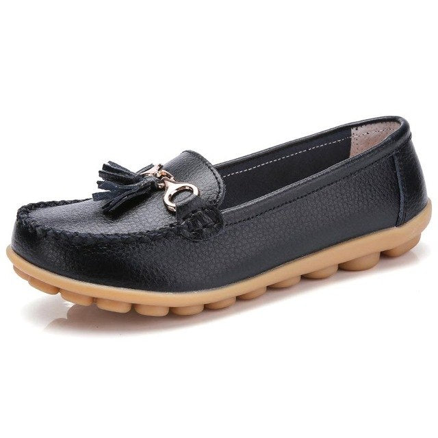 Female shoes woman 2018 fashion tassel solid color loafers shoes women genuine leather shoes round toe flats ladies shoes 35-44 - Baby clothing, toys, shoes, mum & dad products