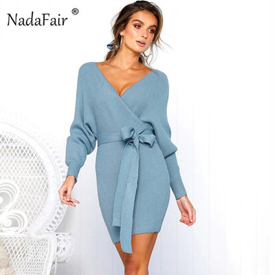 Nadafair 2018 long sleeve rib knitted sweater winter dress women autumn v neck sash sexy bodycon mini dresses elegant robe pull - Baby clothing, toys, shoes, mum & dad products