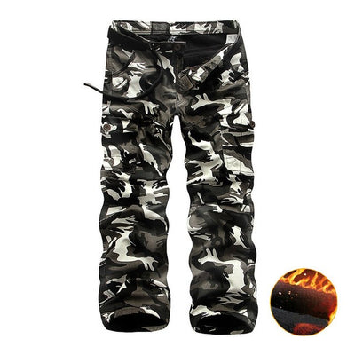 Winter Thicken Fleece Cargo Pants Men's Double Layer Military Army Tactical Cotton Casual Camouflage Trousers Warm Pants - Baby clothing, toys, shoes, mum & dad products