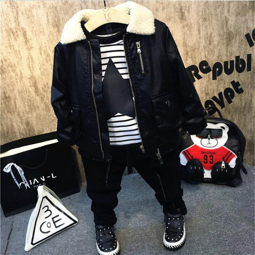 Fashion Baby Boys Clothing Sets Winter Warm Kids Suits Children Clothes Sets Leather leather jacket+T-shirt + thick jeans 3pcs - Baby clothing, toys, shoes, mum & dad products
