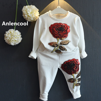 Anlencool Girls Clothing Sets  Winter Wool Sportswear Long Sleeve Rose Floral Embroidered Sequinsets Kids Clothing Sets - Baby clothing, toys, shoes, mum & dad products