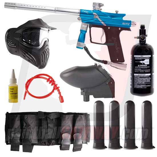 Azodin Blitz 3 Paintball Gun Advanced Package - Blue/Silver
