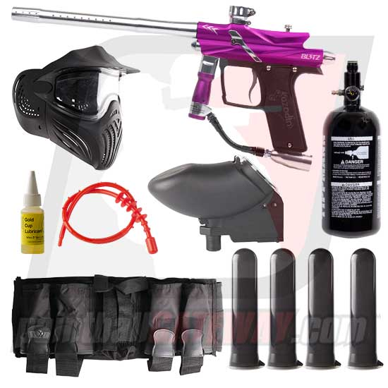 Azodin Blitz 3 Paintball Gun Advanced Package - Purple/Silver