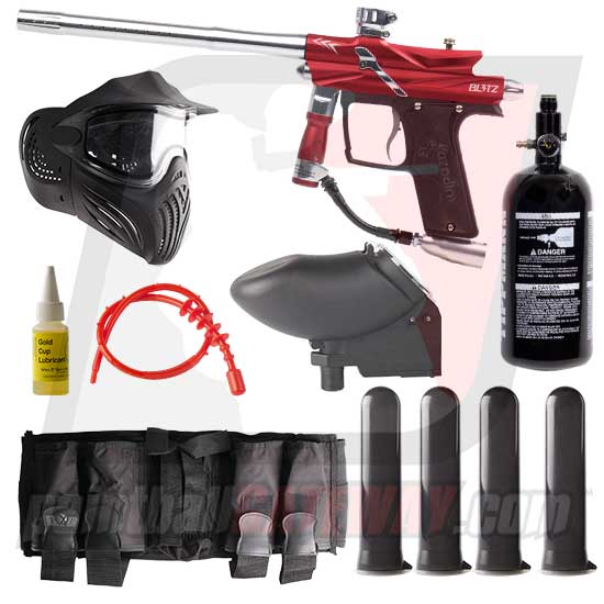 Azodin Blitz 3 Paintball Gun Advanced Package - Red/Silver
