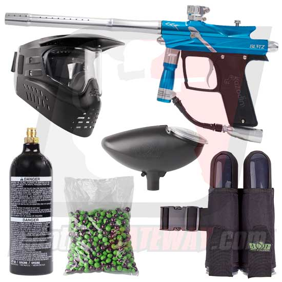 Azodin Blitz 3 Paintball Gun Starter Package - Blue/Silver