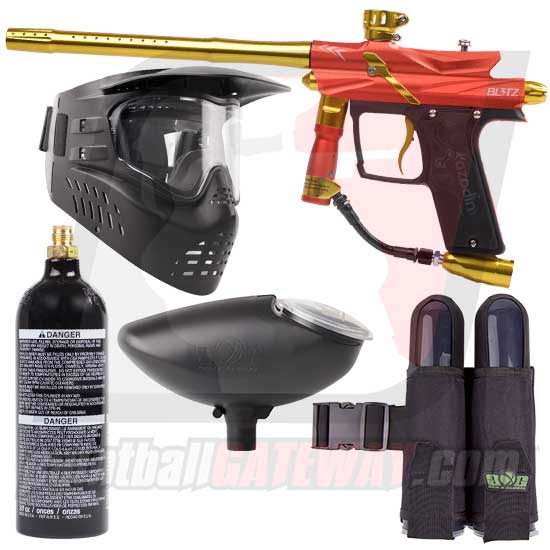 Azodin Blitz 3 Paintball Gun Starter Package - Orange/Yellow