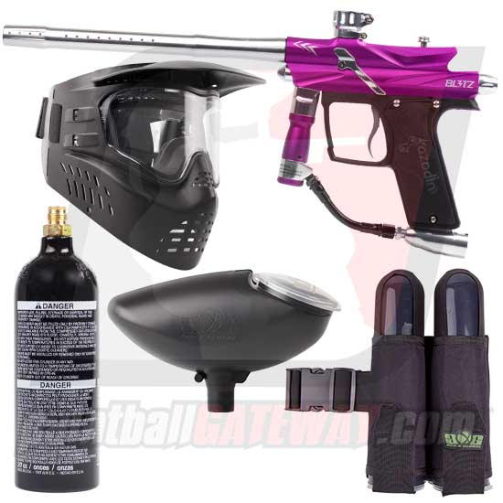 Azodin Blitz 3 Paintball Gun Starter Package - Purple/Silver