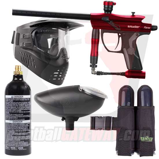 Kingman Spyder Fenix Paintball Gun Starter Package - Gloss Red