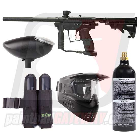 Kingman Spyder MR100 Pro Paintball Gun Starter Package - Black Matte