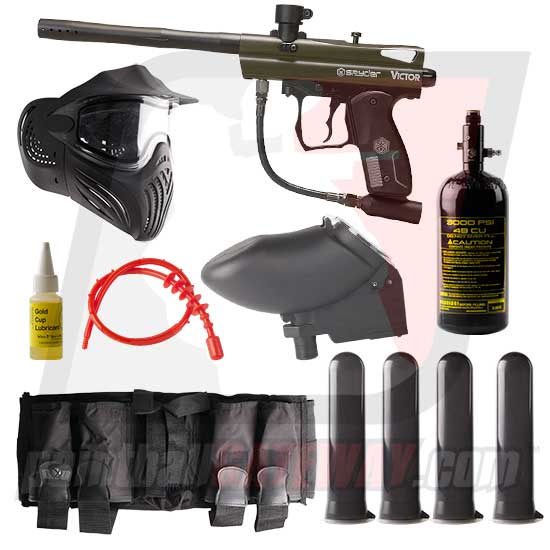 Kingman Spyder Victor Paintball Gun Advanced Package - Olive Green