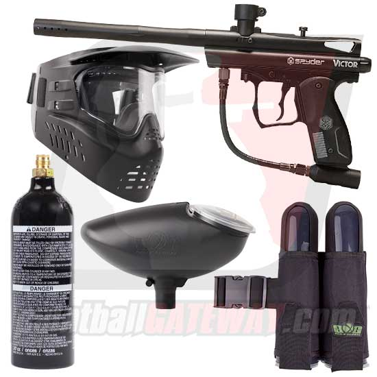 Kingman Spyder Victor Paintball Gun Starter Package - Black Matte