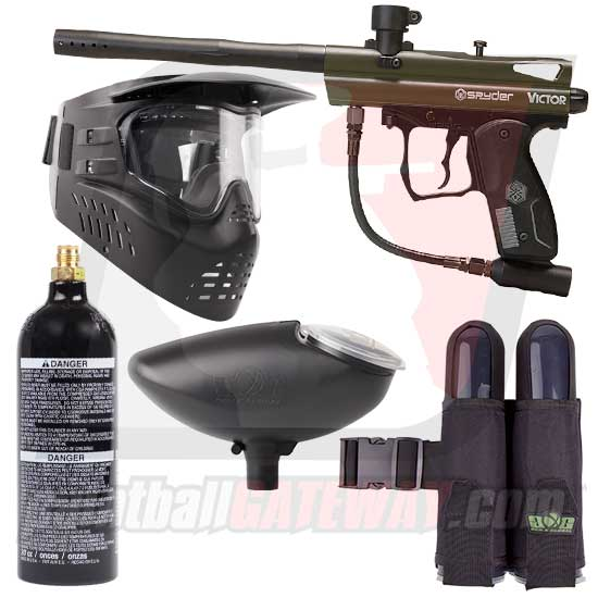 Kingman Spyder Victor Paintball Gun Starter Package - Olive Green