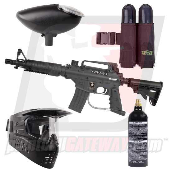 Tippmann US Army BRAVO ONE/Alpha Black Elite Paintball Gun Starter Package - Black