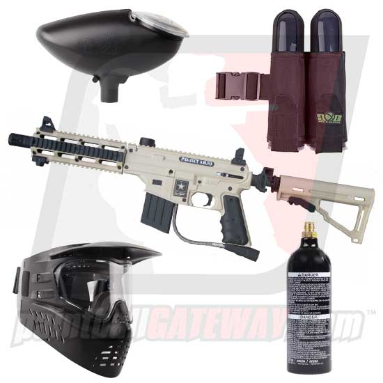 Tippmann US Army SIERRA ONE/Project Salvo Paintball Gun Starter Package - Tan