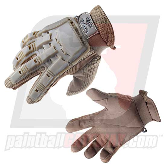 Valken Full Finger Plastic Back Gloves - Tan
