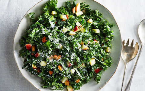 Chopped Kale Salad with Feta Cheese and Walnuts