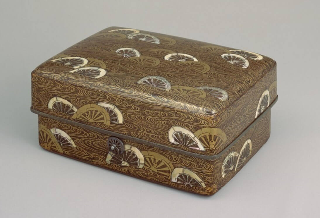 Japanese National Treasure Lacquerware; Toiletry Case with Cart Wheels in Stream (片輪車蒔絵螺鈿手箱)(Tokyo National Museum)