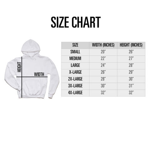 Adult Unisex Hoodie Size Chart