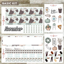 "Load image into Gallery viewer, November Monthly Planner Stickers Kit - Erin Condren Planner Monthly Kit - 7"" x 9"""