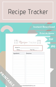 Recipe Tracker PDF+ JPEG ( Available in Various Colors)